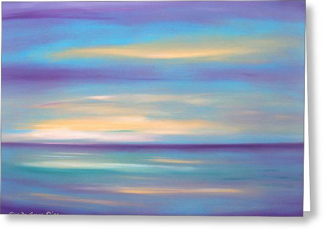 Abstract Sunset In Purple Blue And Yellow Greeting Card
