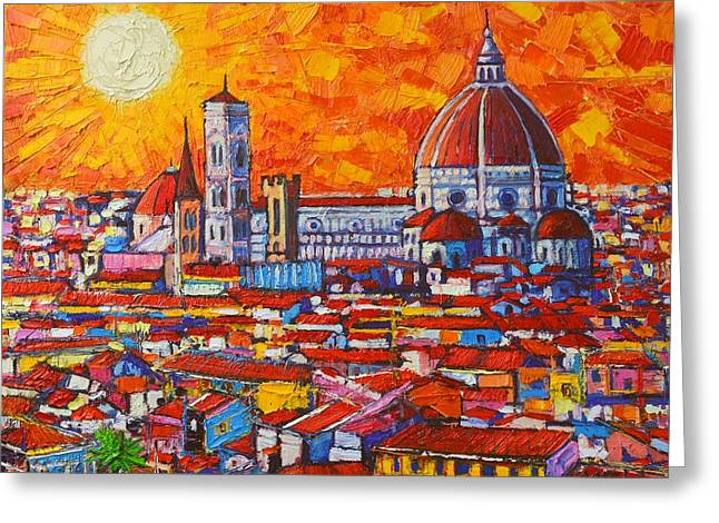 Abstract Sunset Over Duomo In Florence Italy Greeting Card