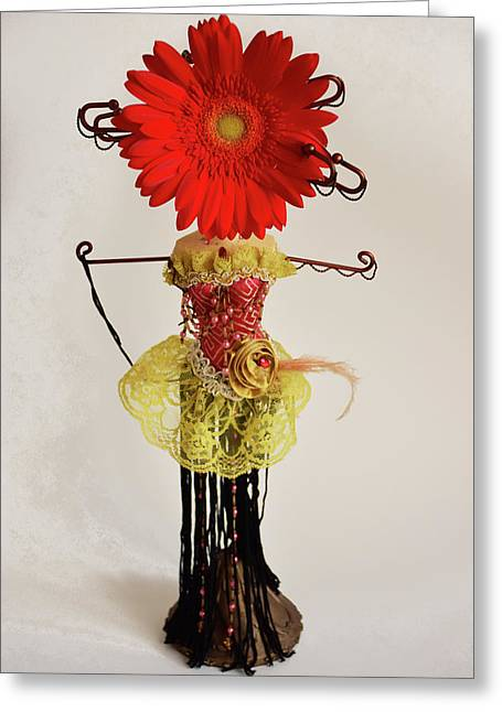 Abstract Surreal Fashion And Flower Greeting Card