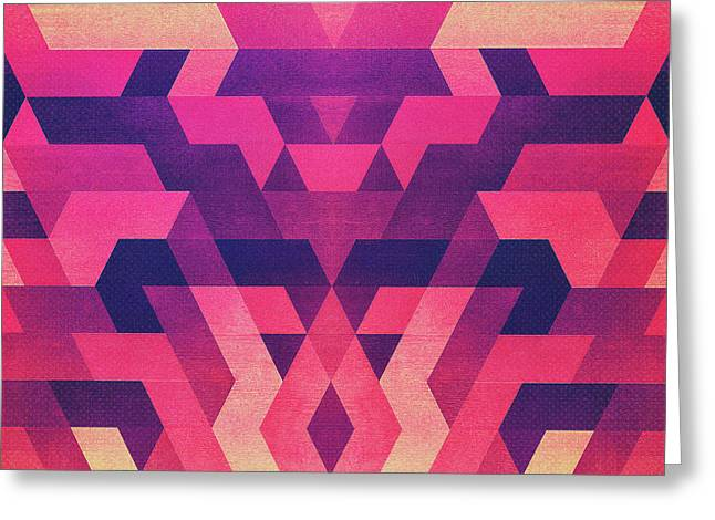 Abstract Symertric Geometric Triangle Texture Pattern Design In Diabolic Magnet Future Red Greeting Card