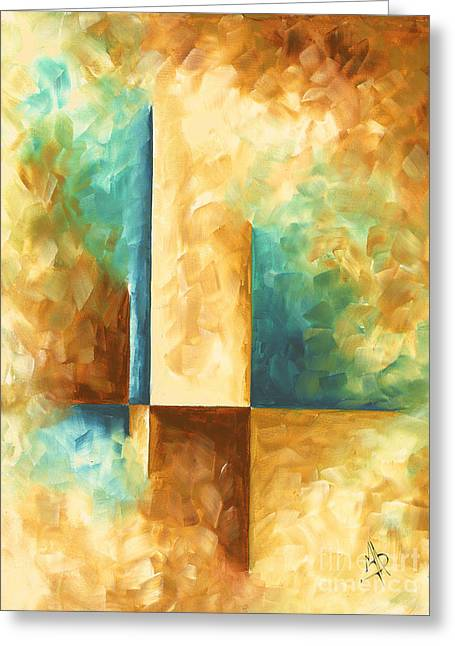 Abstract Teal Golden Rust Minimalist Contemporary Pop Art Painting Aqua Maze II By Madart Greeting Card