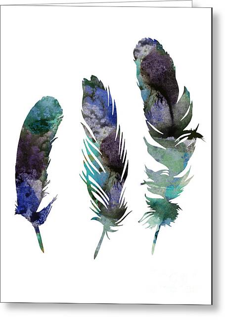 Abstract Three Feathers Watercolor Painting Greeting Card