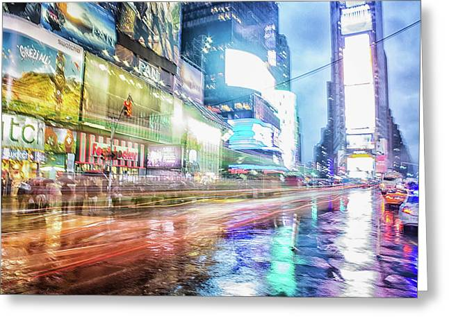 Abstract Times Square Greeting Card