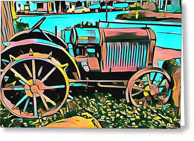 Greeting Card featuring the digital art Abstract Tractor Los Olivos California by Floyd Snyder