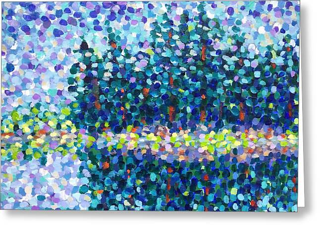 Greeting Card featuring the painting Abstract Trees Impressionist Painting by Cristina Stefan