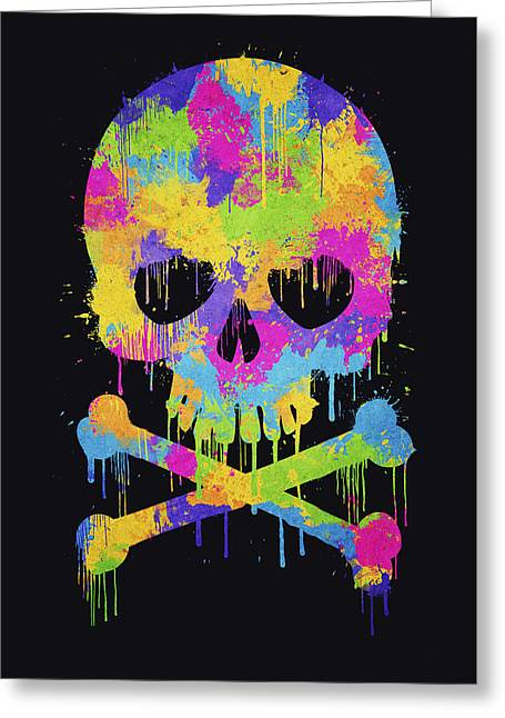 Abstract Trendy Graffiti Watercolor Skull  Greeting Card by Philipp Rietz