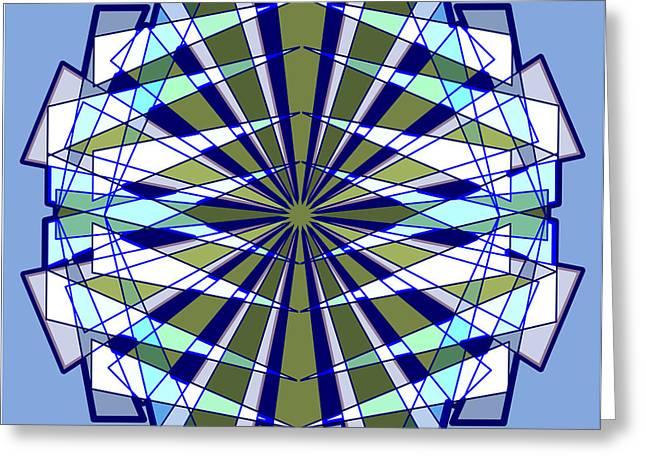 Abstract Triangle Starburst In Blue And Green Greeting Card