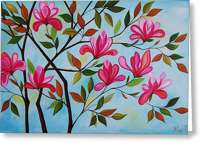 Abstract Tulip Tree Greeting Card by Peggy Davis