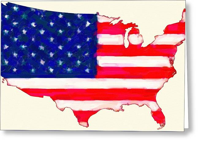 Abstract  Us Flag In Usa  Map Greeting Card by Celestial Images