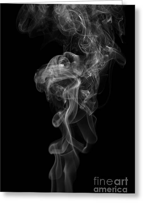Abstract Vertical Monochrome White Mood Colored Smoke Wall Art 03 Greeting Card by Alexandra K