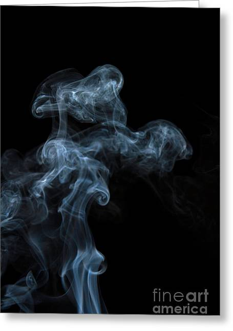 Abstract Vertical White Mood Colored Smoke Wall Art 04 Greeting Card by Alexandra K