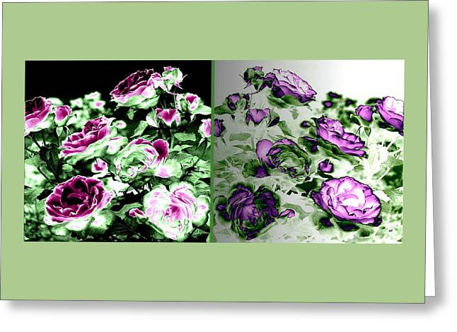 Abstract Vintage Roses Greeting Card