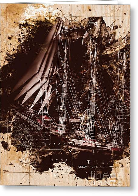 Abstract Vintage Ship And Old World Paper Map Greeting Card by Jorgo Photography - Wall Art Gallery