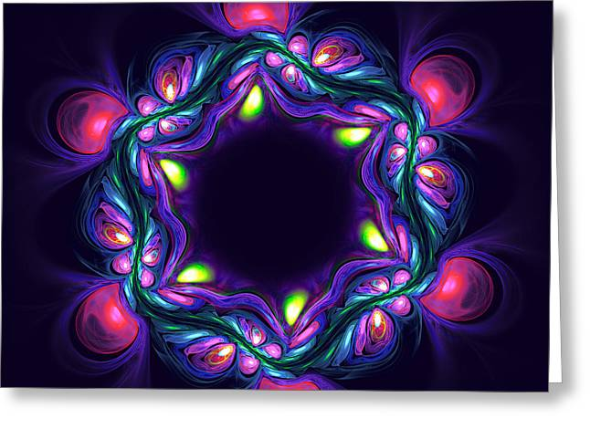 Abstract Violet Flower On Dark Background Greeting Card
