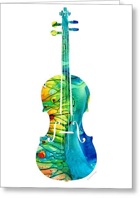 Abstract Violin Art By Sharon Cummings Greeting Card