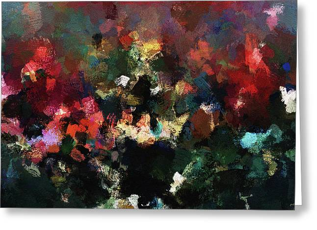 Greeting Card featuring the painting Abstract Wall Art In Dark Colors by Ayse Deniz