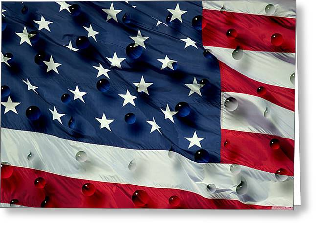 Greeting Card featuring the painting Abstract Water Drops On Usa Flag by Georgeta Blanaru