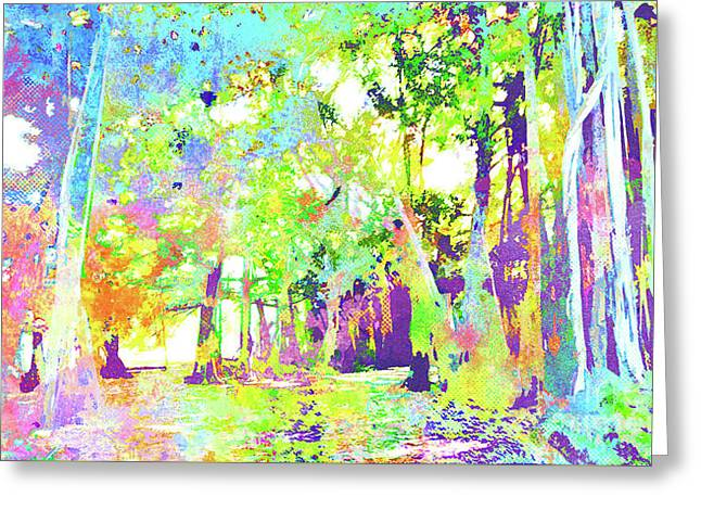 Abstract Watercolor - Banyan Forest I Greeting Card