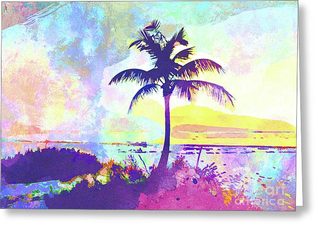 Abstract Watercolor - Beach Sunset I Greeting Card