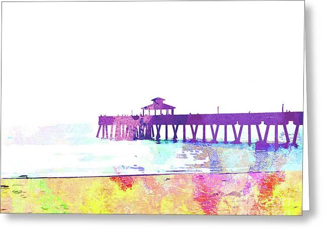 Abstract Watercolor - Pier At Dusk Greeting Card
