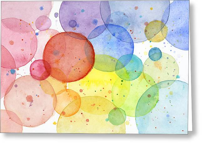 Abstract Watercolor Rainbow Circles Greeting Card by Olga Shvartsur