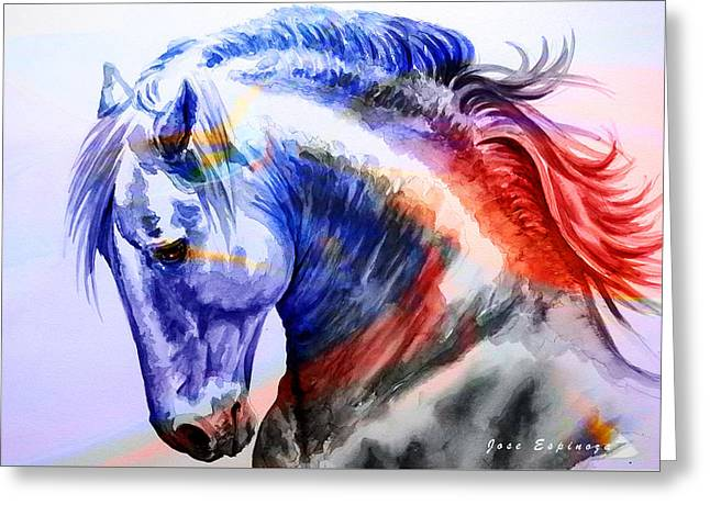 Greeting Card featuring the painting Abstract White Horse 44 by J- J- Espinoza