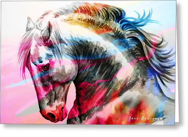Greeting Card featuring the painting Abstract White Horse 45 by J- J- Espinoza