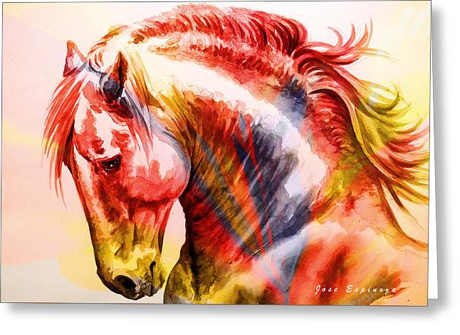 Greeting Card featuring the painting Abstract White Horse 46 by J- J- Espinoza