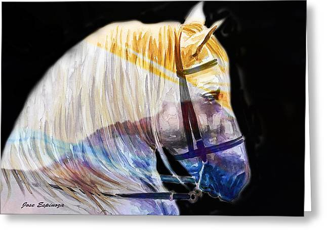 Greeting Card featuring the painting Abstract White Horse 50 by J- J- Espinoza