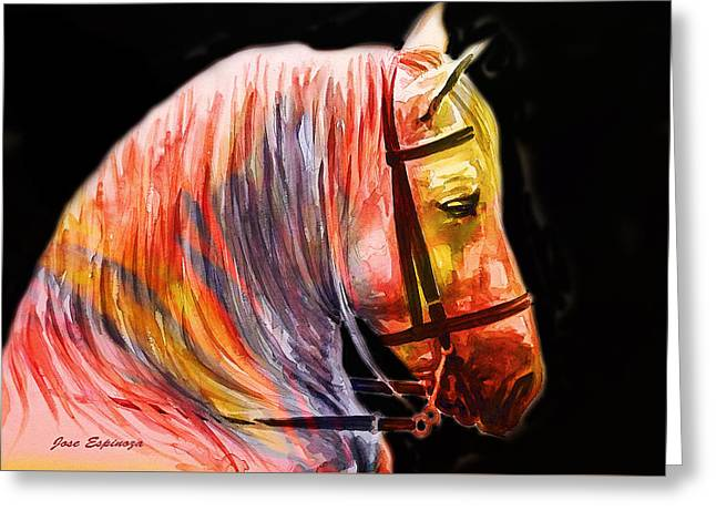 Greeting Card featuring the painting Abstract White Horse 52 by J- J- Espinoza