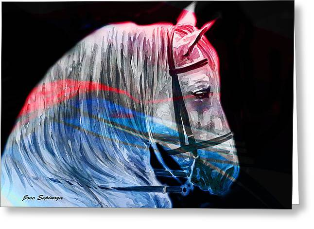 Greeting Card featuring the painting Abstract White Horse 53 by J- J- Espinoza