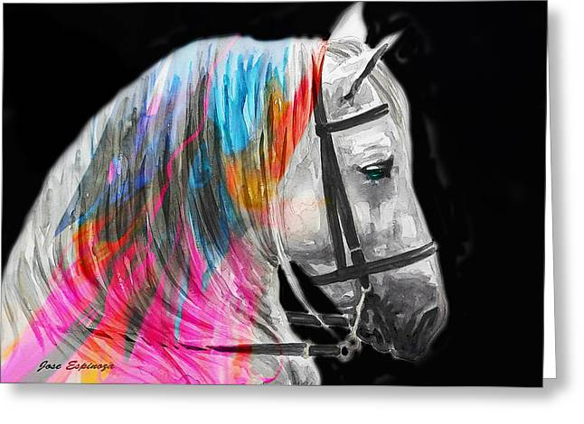 Greeting Card featuring the painting Abstract White Horse 54 by J- J- Espinoza