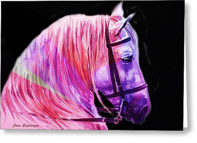Greeting Card featuring the painting Abstract White Horse 56 by J- J- Espinoza