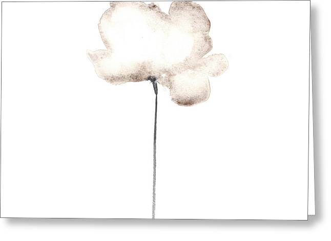 Abstract White Poppy Watercolor Art Print Painting Greeting Card by Joanna Szmerdt