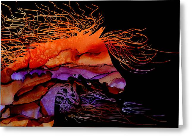 Abstract Wild Horse - Vibrant Purple And Orange Greeting Card by Michelle Wrighton