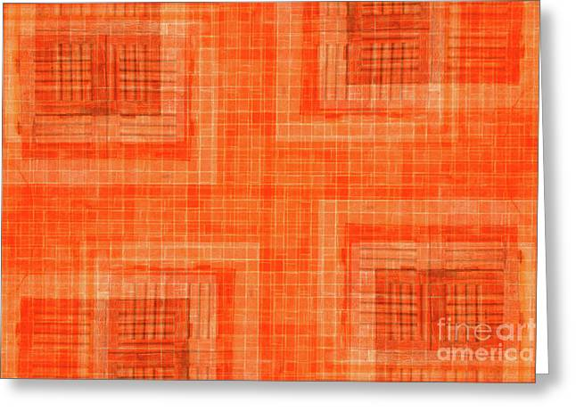 Abstract Window On Orange Wall Greeting Card by Silvia Ganora