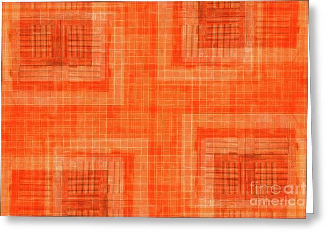 Abstract Window On Orange Wall Greeting Card by Silvia Ganora