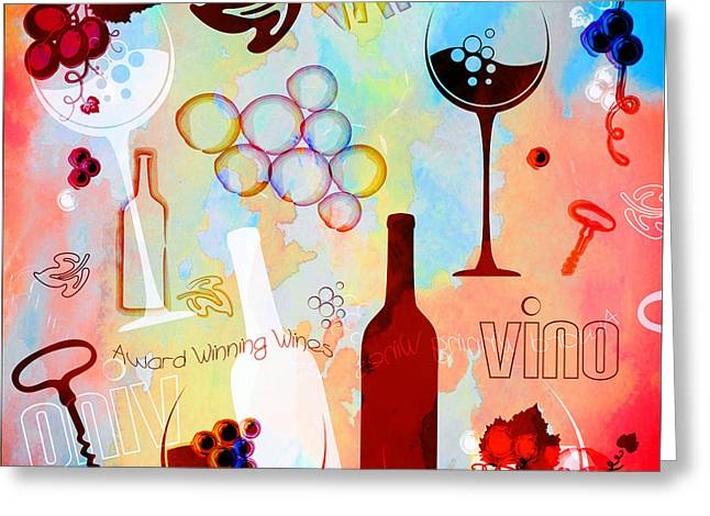 Abstract Wine Art Greeting Card