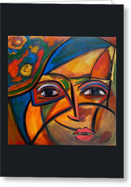 Abstract Woman With Flower Hat Greeting Card