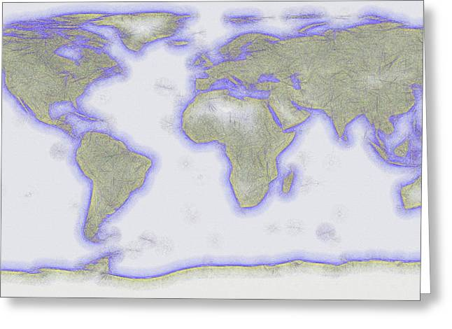 Abstract World Earth Map 11 Greeting Card by Bob Orsillo