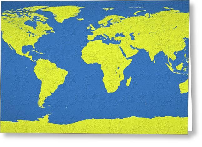 Abstract World Map 0317 Greeting Card by Bob Orsillo
