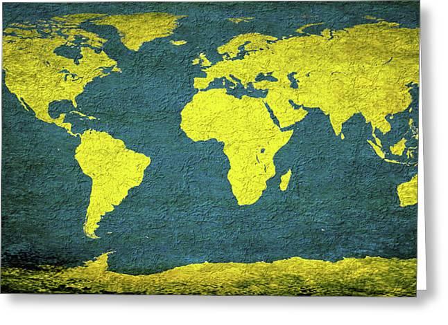 Abstract World Map 0318 Greeting Card by Bob Orsillo