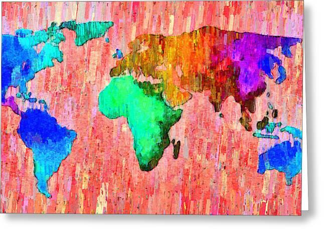 Abstract World Map 11 - Da Greeting Card by Leonardo Digenio