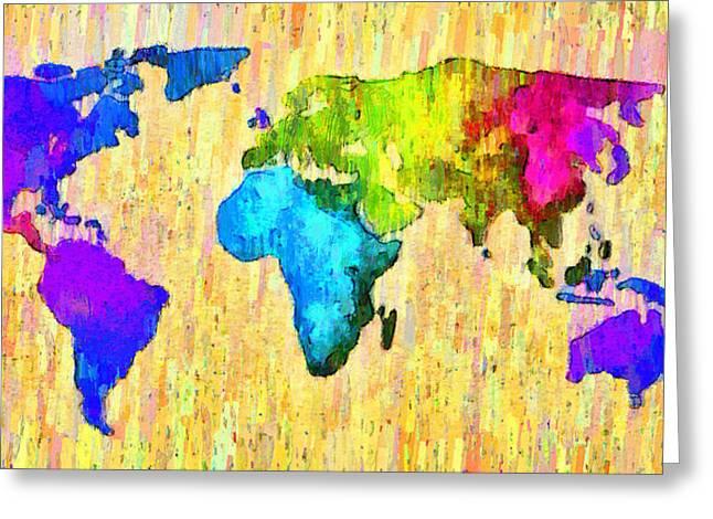Abstract World Map 12 - Pa Greeting Card by Leonardo Digenio