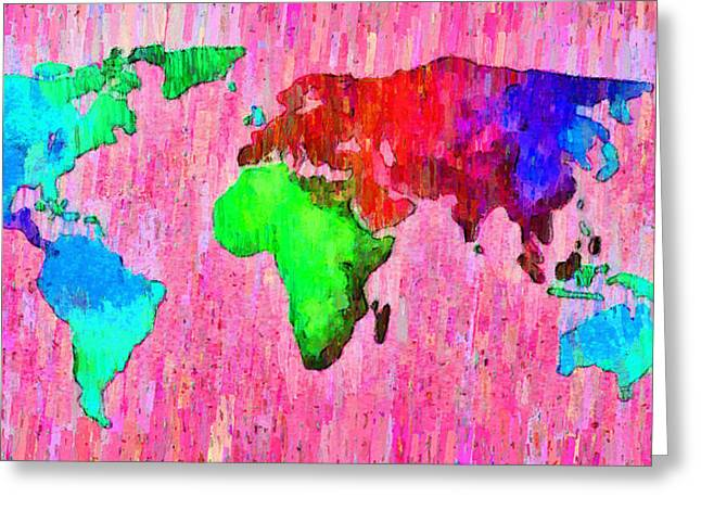 Abstract World Map 14 - Pa Greeting Card by Leonardo Digenio