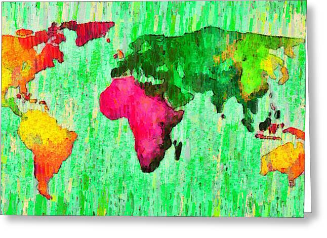 Abstract World Map 16 - Pa Greeting Card by Leonardo Digenio
