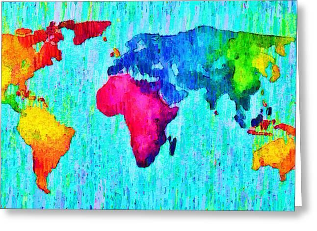 Abstract World Map 17 - Da Greeting Card by Leonardo Digenio