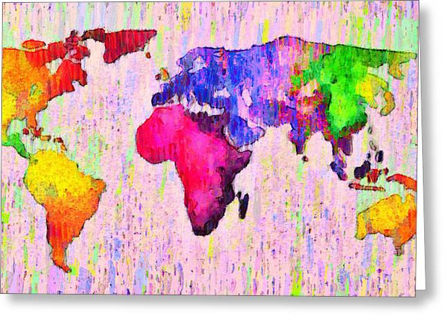 Abstract World Map 18 - Da Greeting Card by Leonardo Digenio