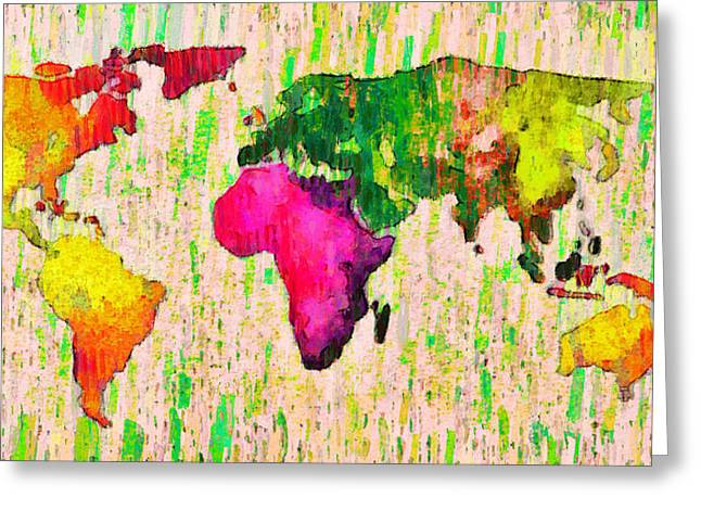 Abstract World Map 19 - Pa Greeting Card