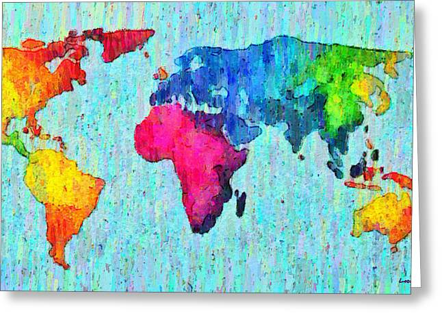 Abstract World Map Colorful 50 - Pa Greeting Card by Leonardo Digenio